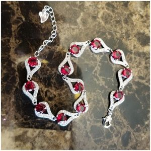 Jewelry - 2.7Ct Ruby and White Sapphire Bracelet 7-9